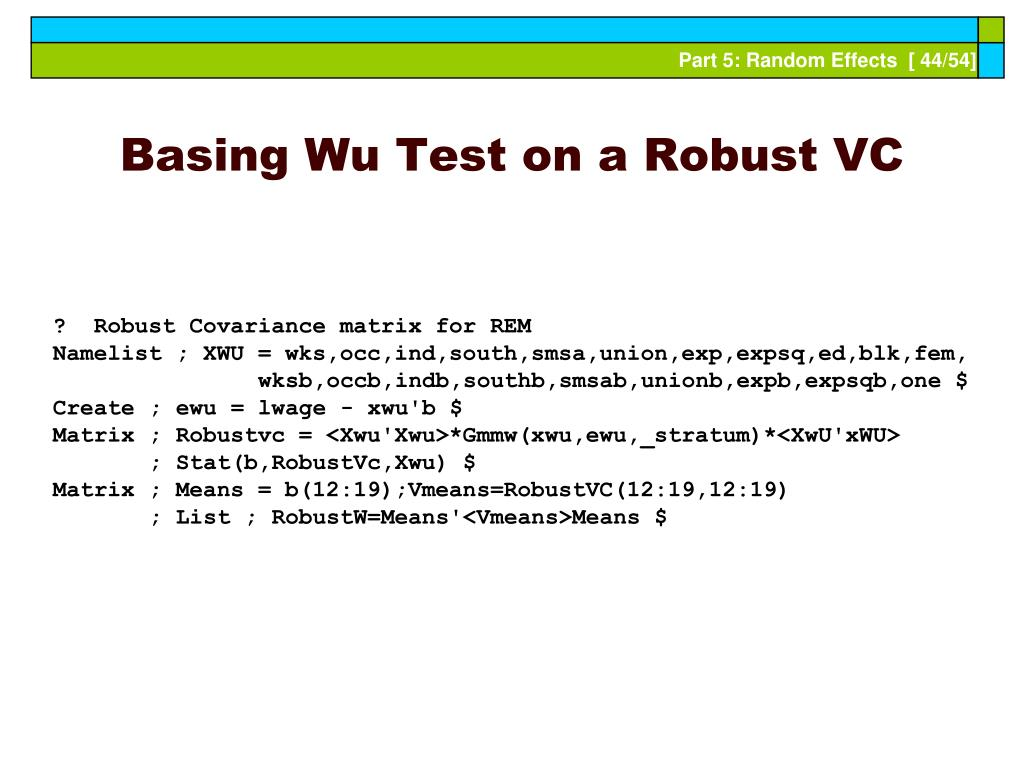 Basing Wu Test on a Robust VC