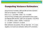 computing variance estimators