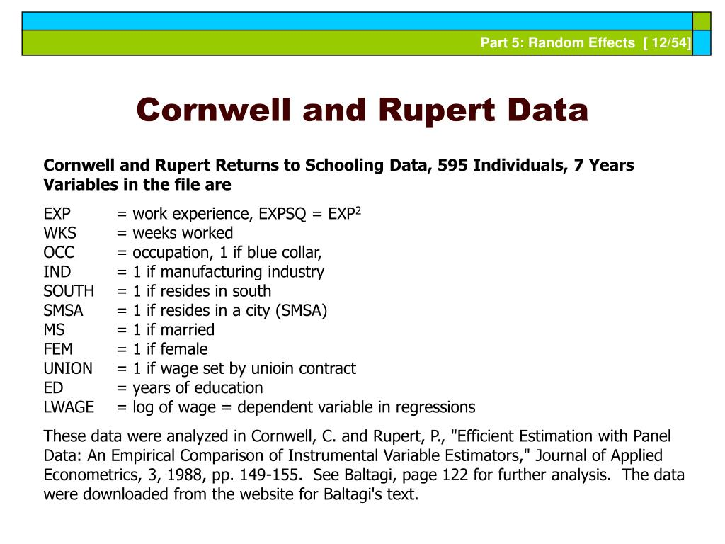 Cornwell and Rupert Data