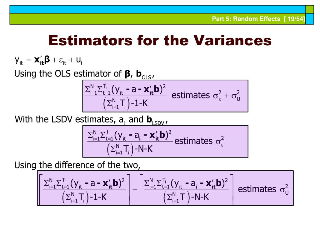 Estimators for the Variances