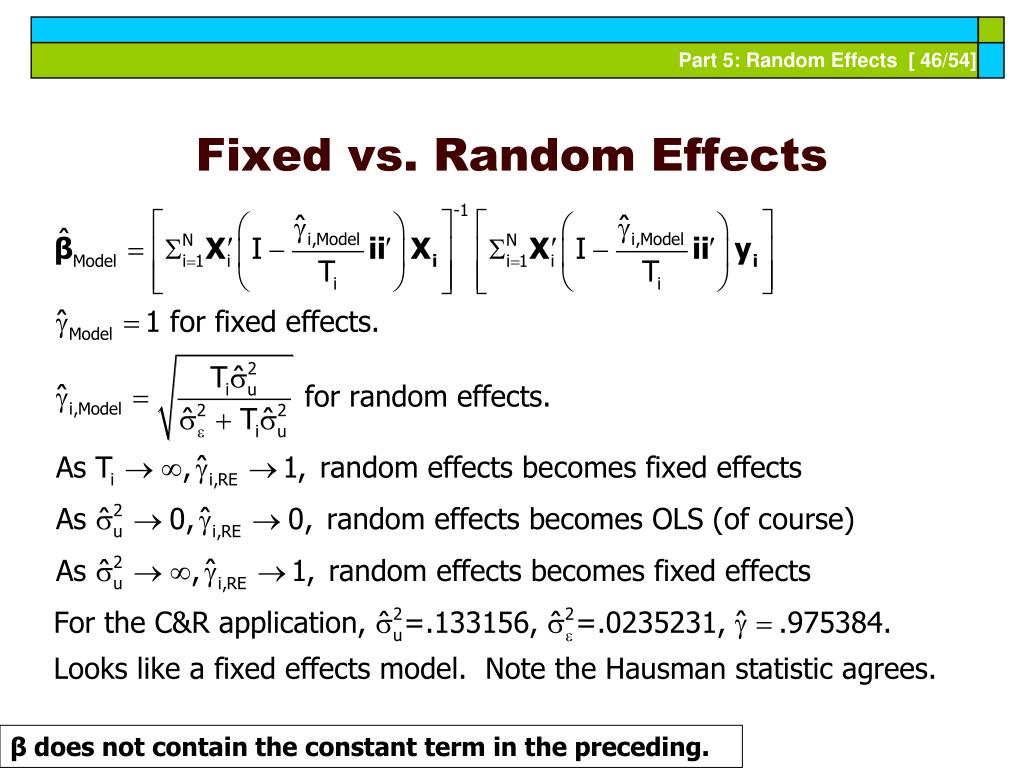 Fixed vs. Random Effects