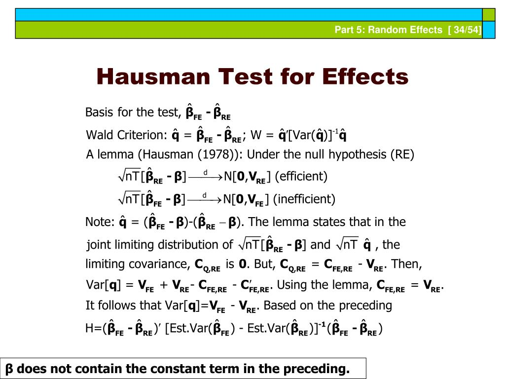 Hausman Test for Effects