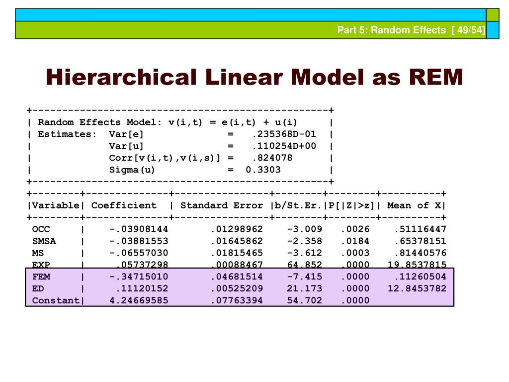 Hierarchical Linear Model as REM