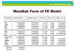 mundlak form of fe model
