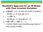 mundlak s approach for an fe model with time invariant variables