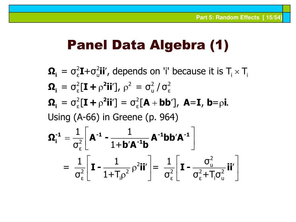 Panel Data Algebra (1)
