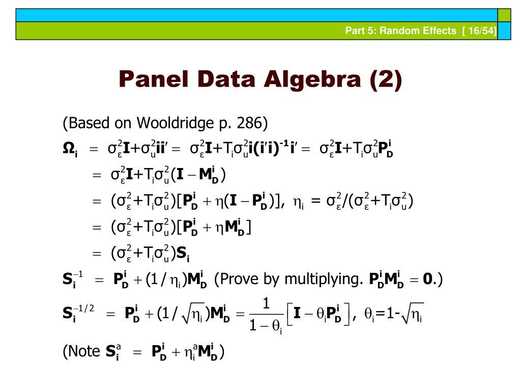 Panel Data Algebra (2)