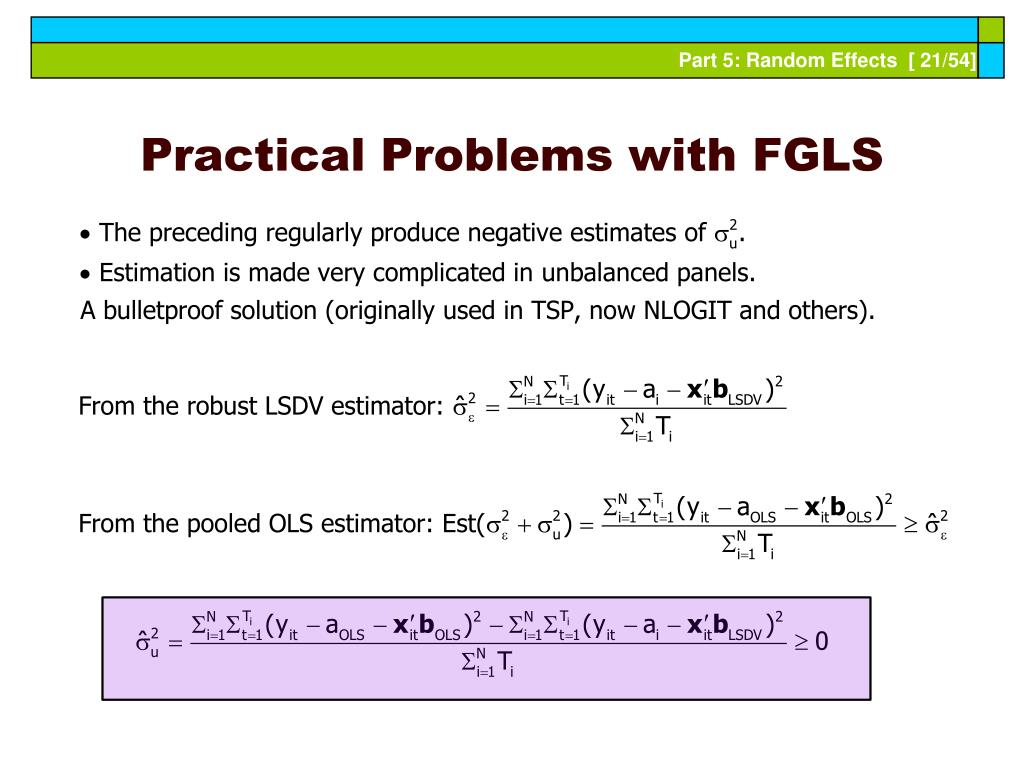 Practical Problems with FGLS