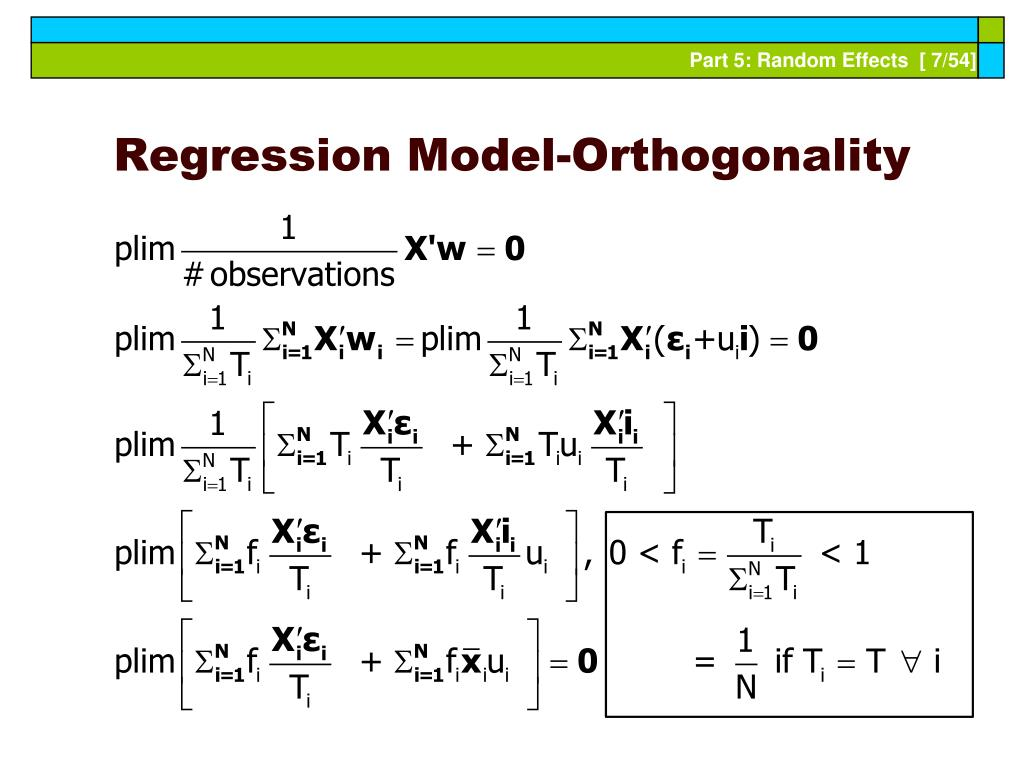 Regression Model-Orthogonality