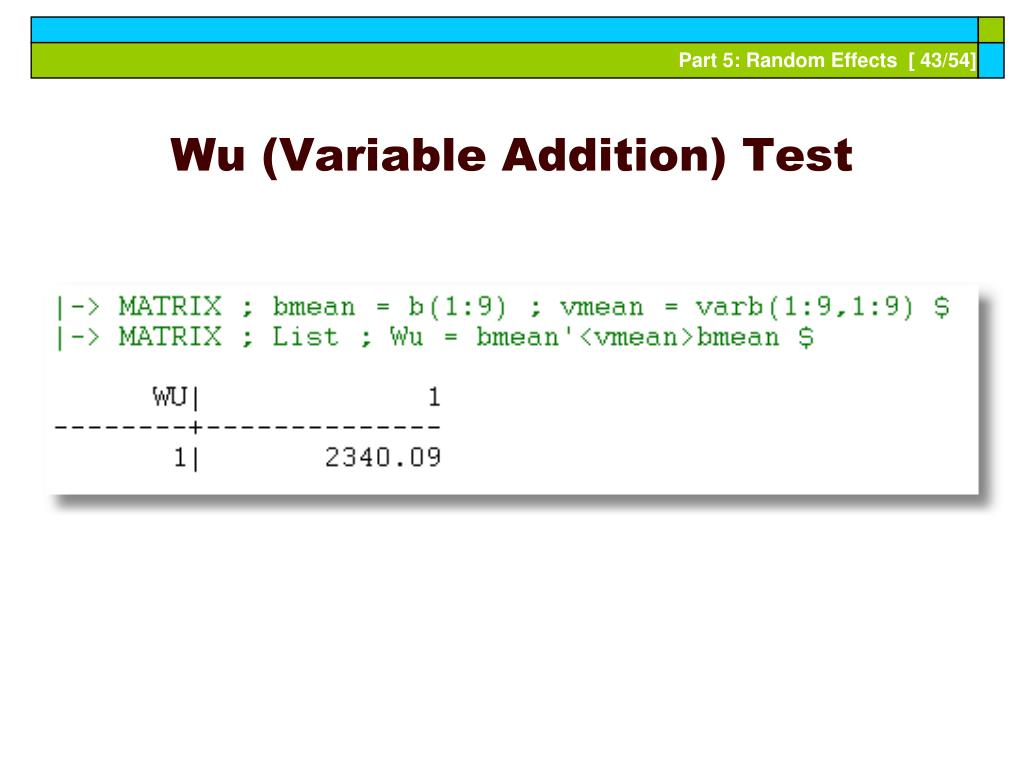 Wu (Variable Addition) Test