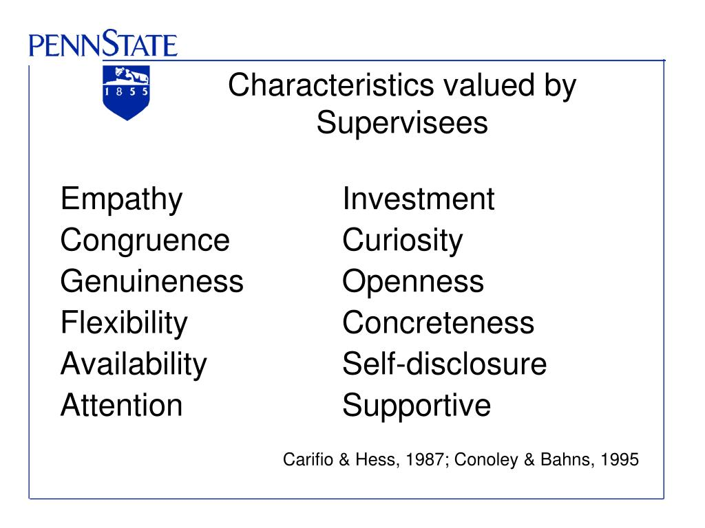 Characteristics valued by Supervisees