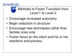 methods to foster transition from level 1 to level 2