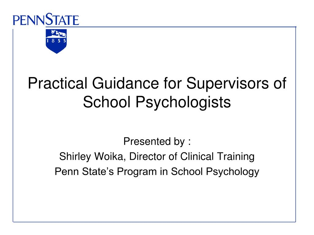 Practical Guidance for Supervisors of School Psychologists