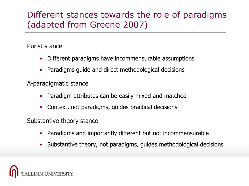 Different stances towards the role of paradigms