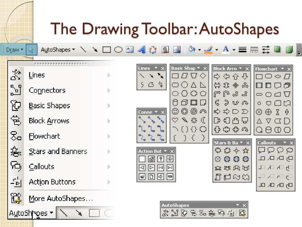 The Drawing Toolbar: AutoShapes