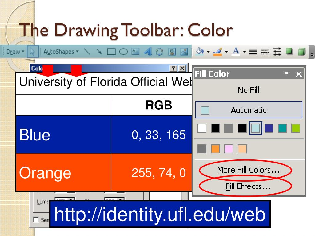 The Drawing Toolbar: Color