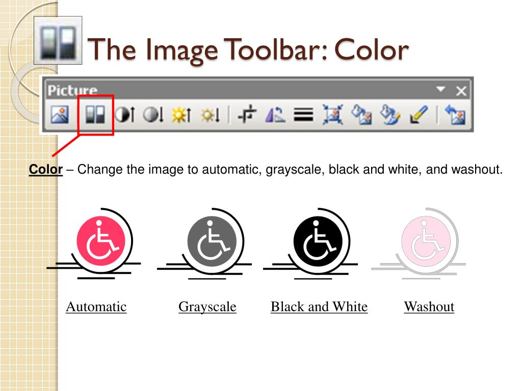 The Image Toolbar: Color