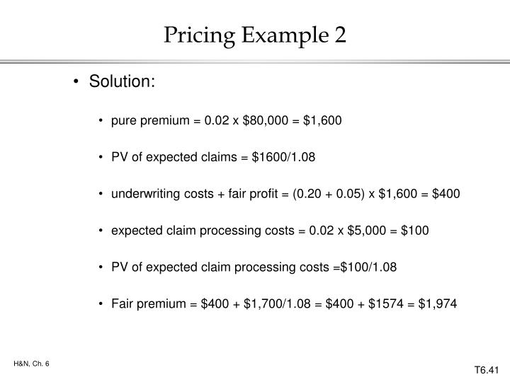 Pricing Example 2