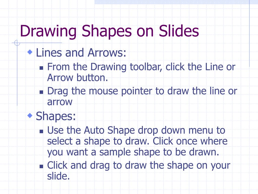 Drawing Shapes on Slides