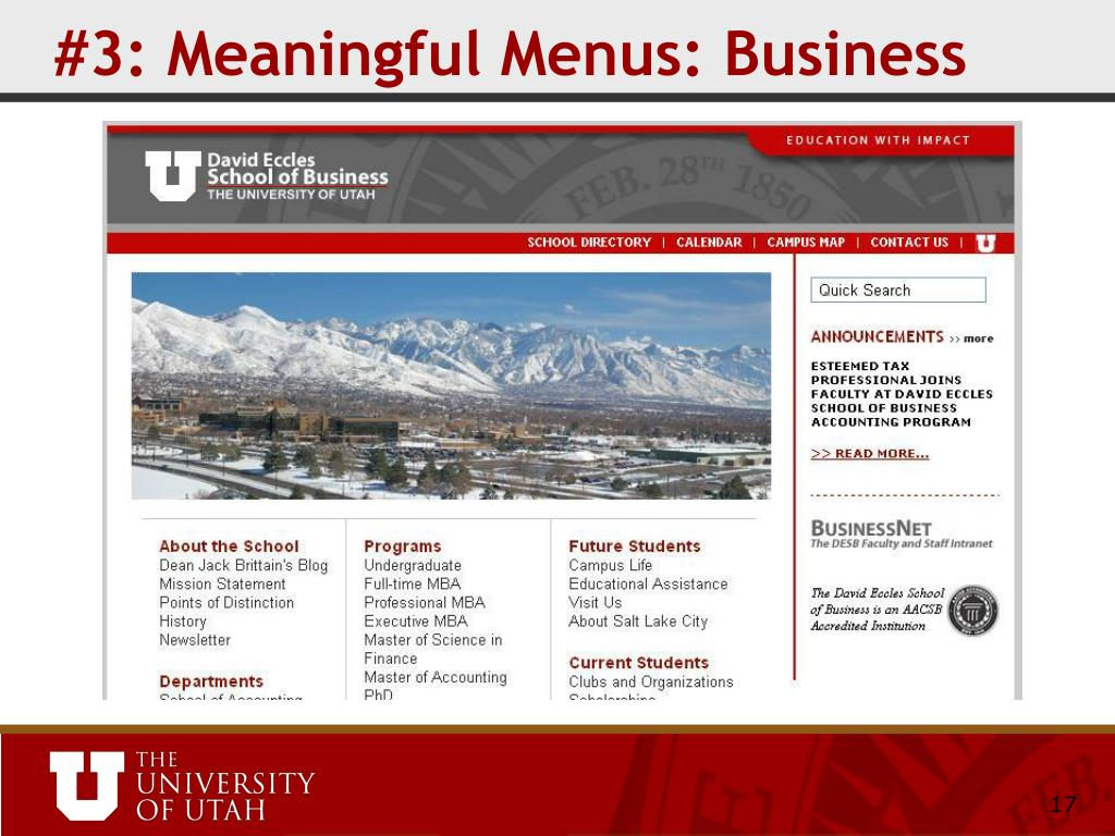 #3: Meaningful Menus: Business