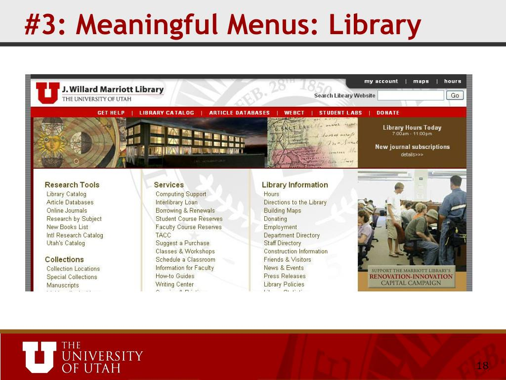 #3: Meaningful Menus: Library