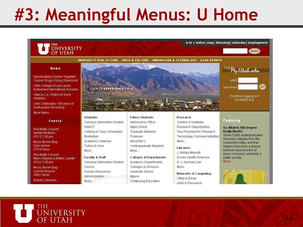 #3: Meaningful Menus: U Home