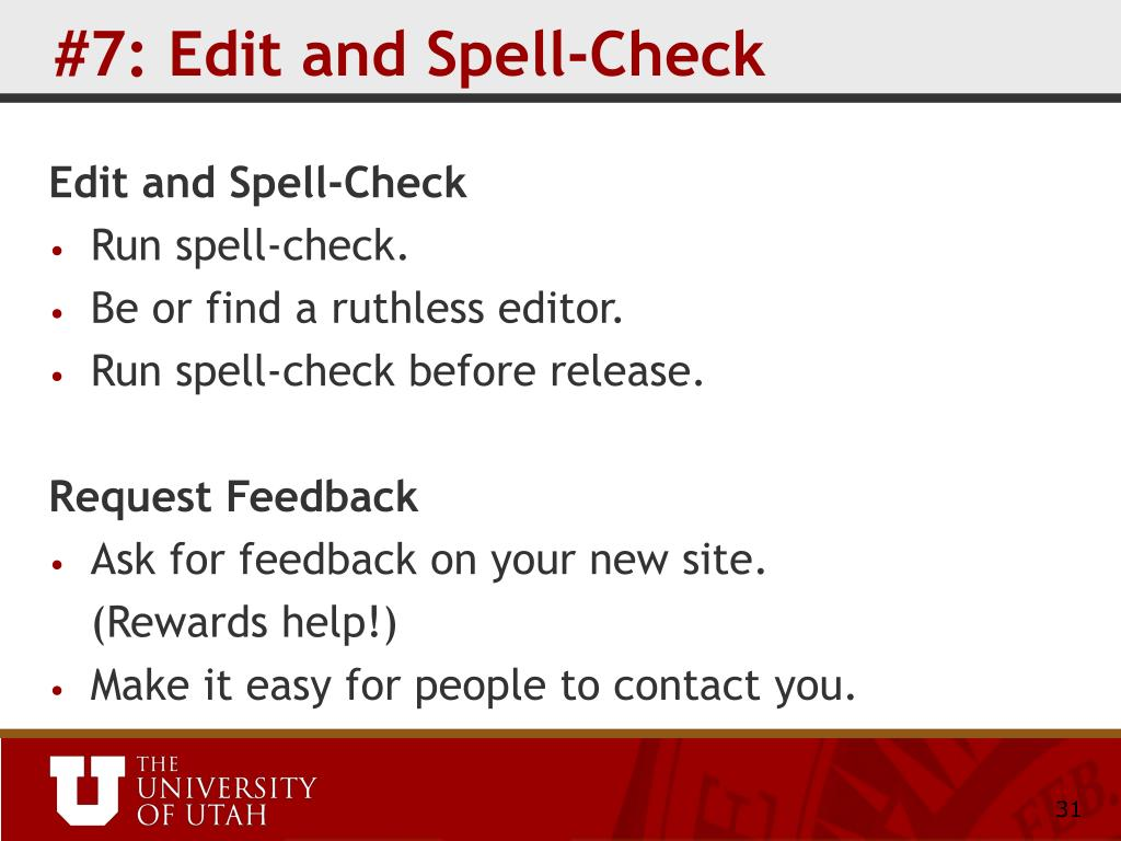 #7: Edit and Spell-Check