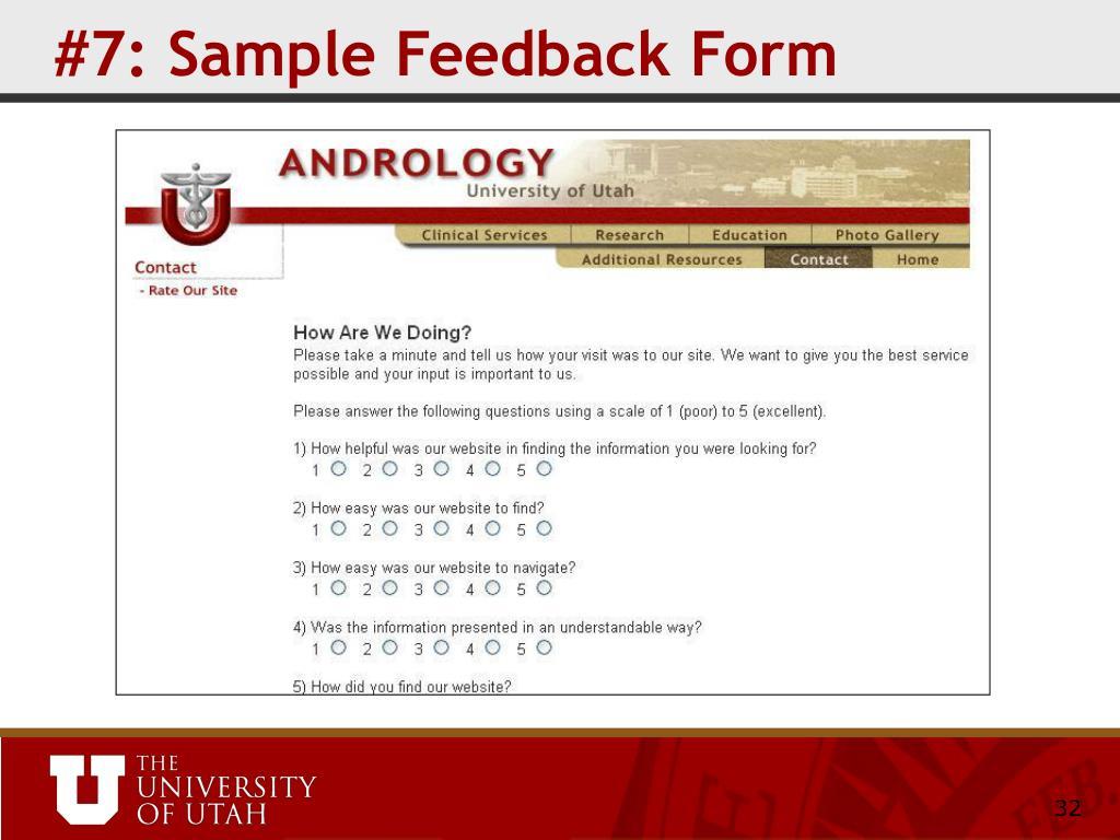 #7: Sample Feedback Form