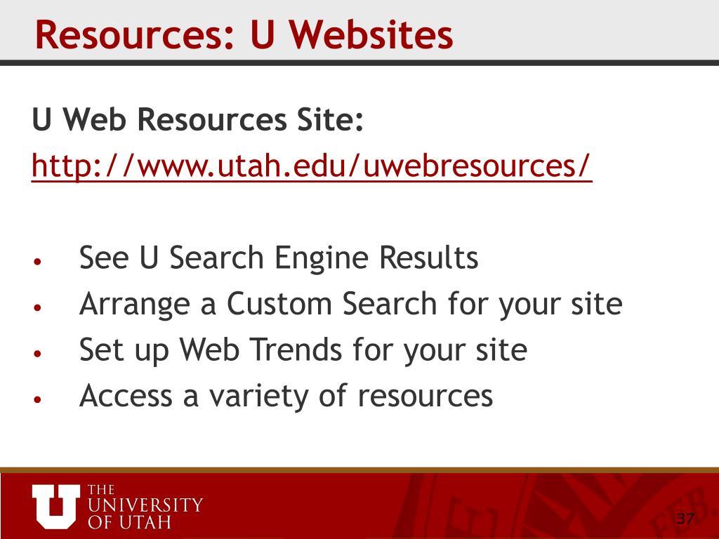 Resources: U Websites