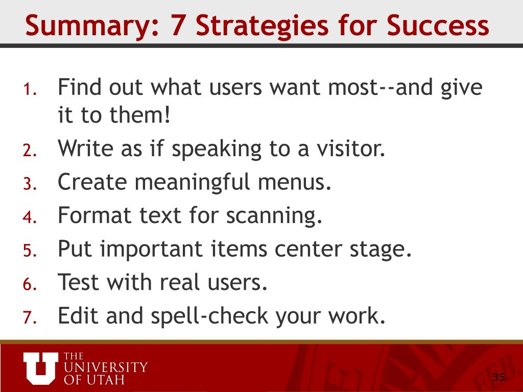 Summary: 7 Strategies for Success