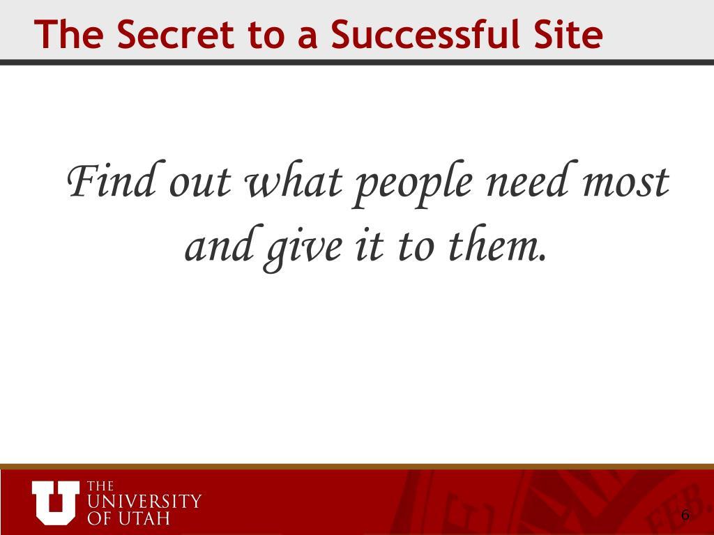 The Secret to a Successful Site