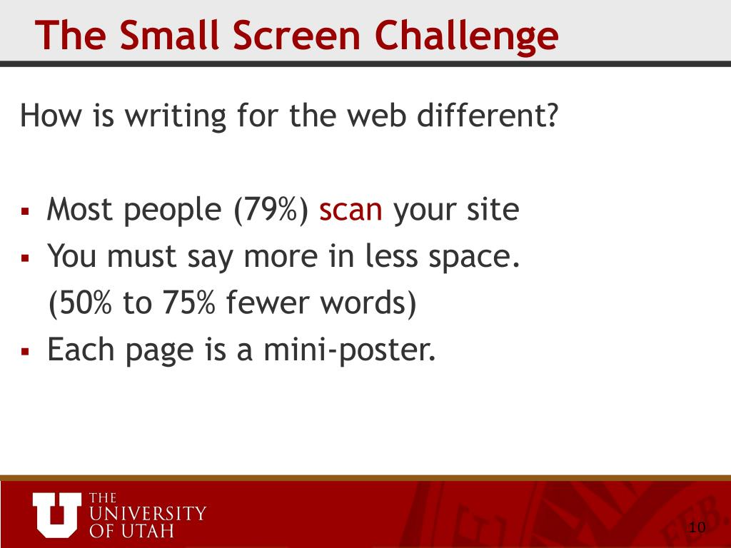 The Small Screen Challenge