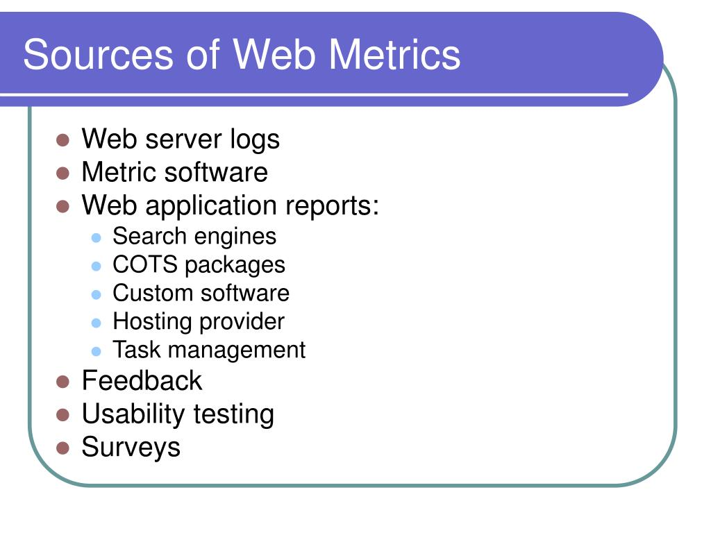 Sources of Web Metrics