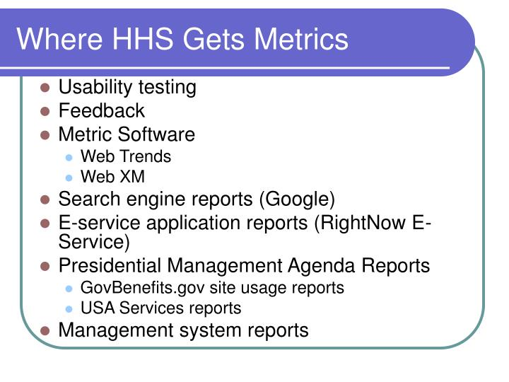 Where hhs gets metrics