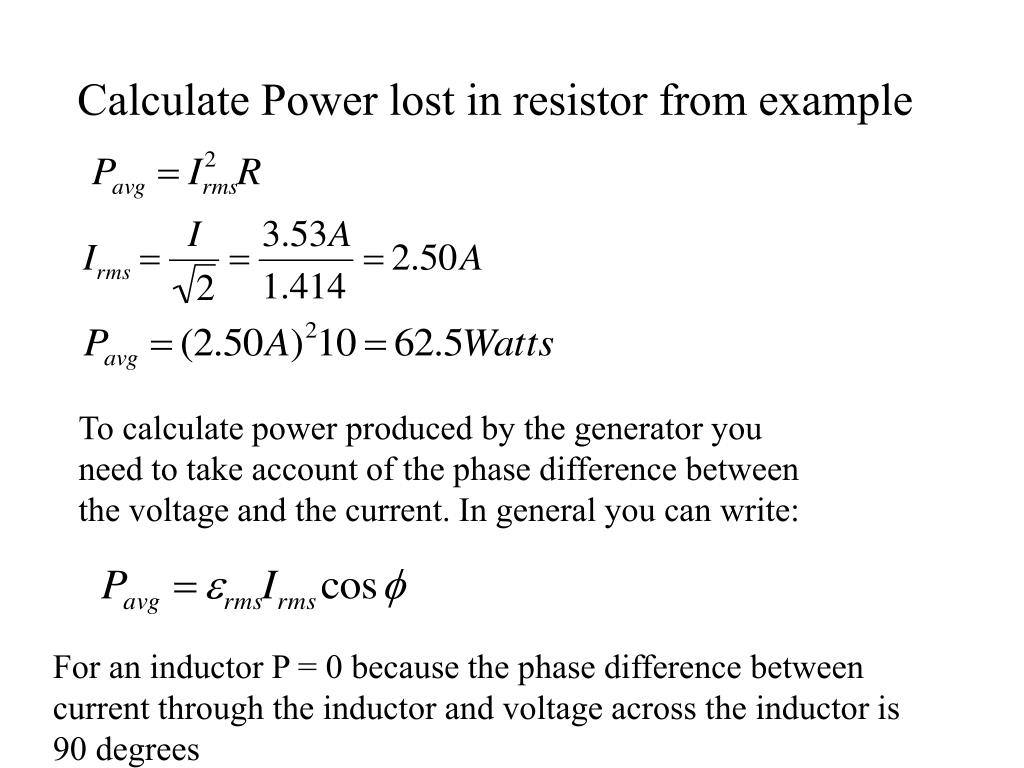 Calculate Power lost in resistor from example