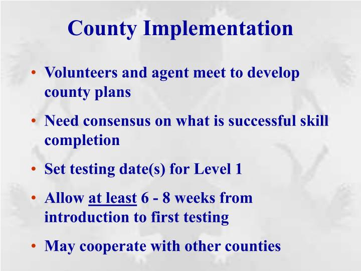 County Implementation