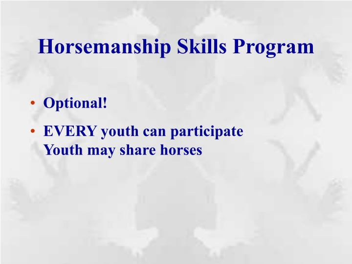 Horsemanship skills program