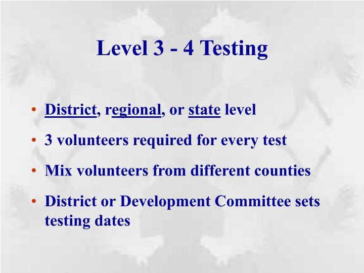Level 3 - 4 Testing