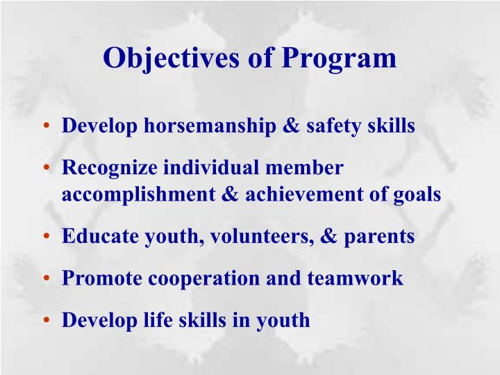 Objectives of Program