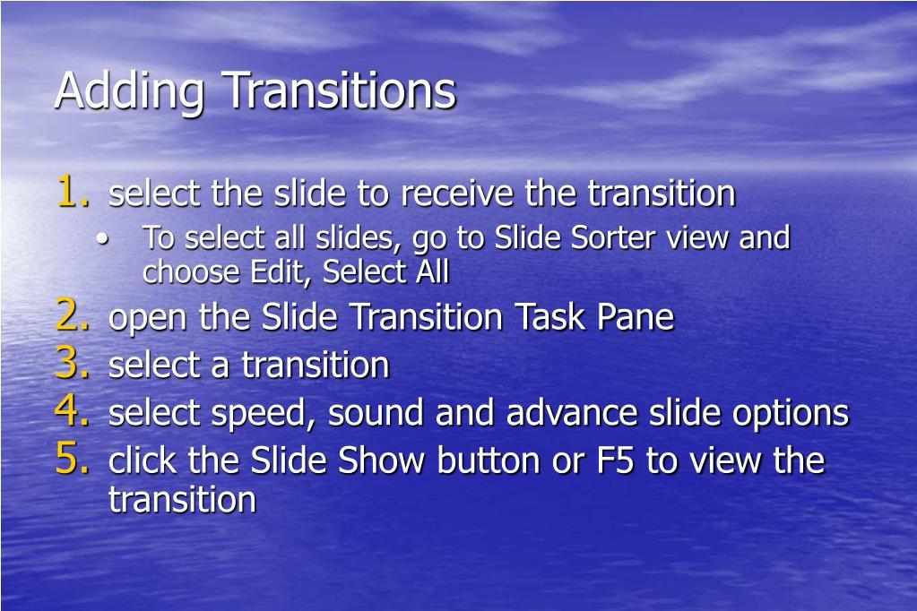 Adding Transitions