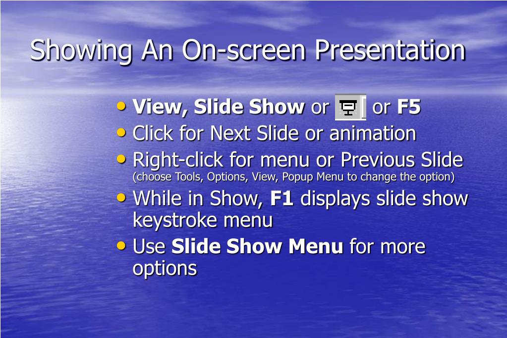 Showing An On-screen Presentation