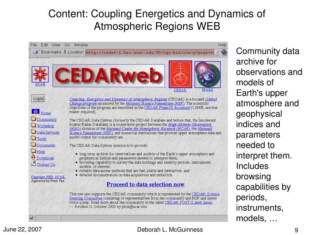 Content: Coupling Energetics and Dynamics of Atmospheric Regions WEB