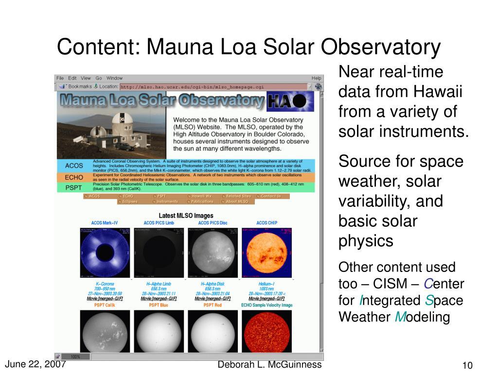 Content: Mauna Loa Solar Observatory
