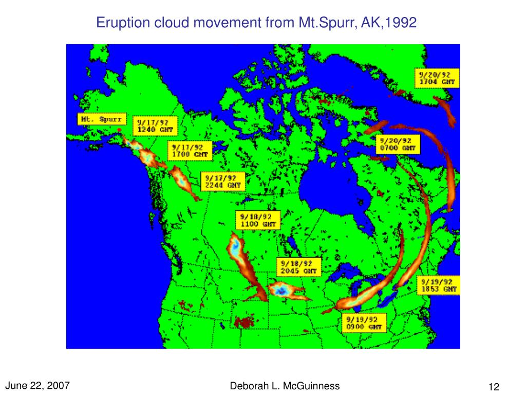 Eruption cloud movement from Mt.Spurr, AK,1992