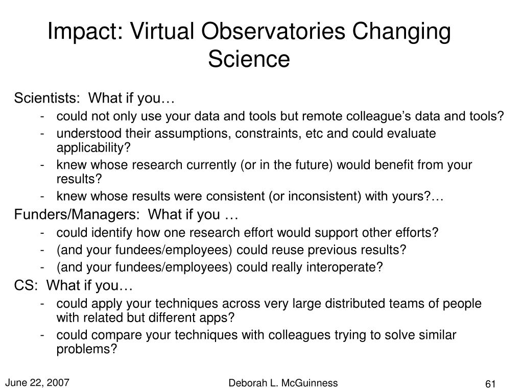 Impact: Virtual Observatories Changing Science
