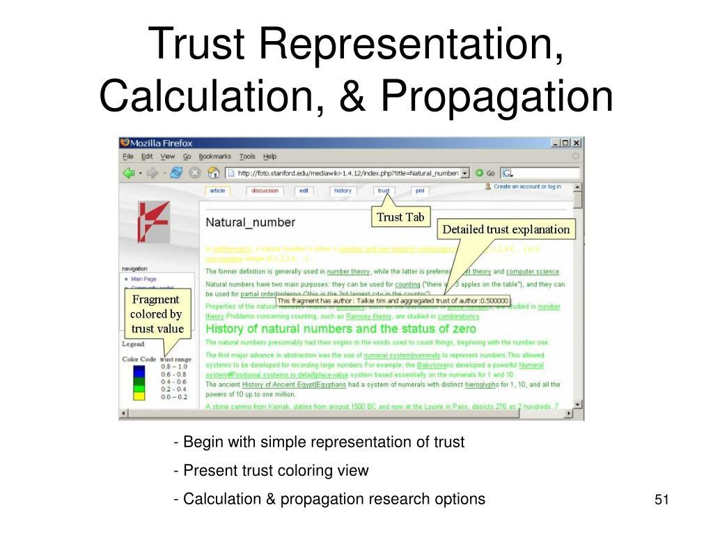 Trust Representation, Calculation, & Propagation