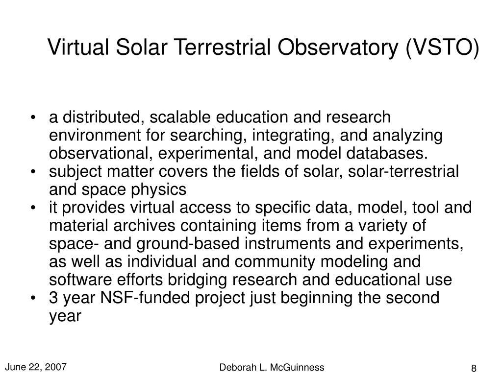 Virtual Solar Terrestrial Observatory (VSTO)