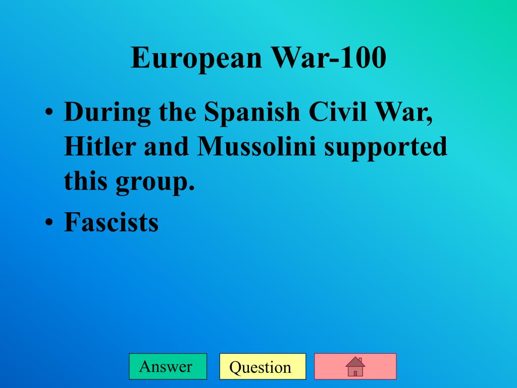 During the Spanish Civil War, Hitler and Mussolini supported this group.