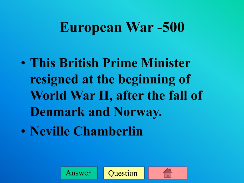 This British Prime Minister resigned at the beginning of World War II, after the fall of Denmark and Norway.
