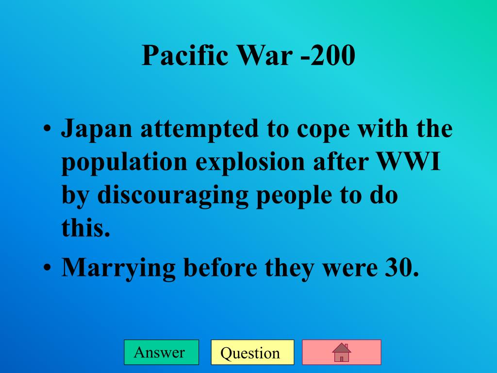 Japan attempted to cope with the population explosion after WWI by discouraging people to do this.